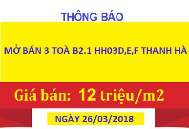MỞ BÁN HH03 THANH HÀ
